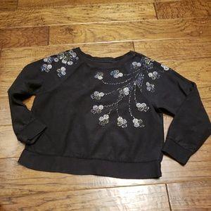 Lou & Grey Branchout Sequined Crop Sweatshirt - M